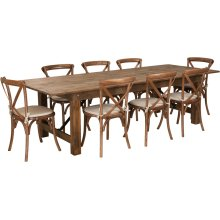 9' x 40'' Antique Rustic Folding Farm Table Set with 8 Cross Back Chairs and Cushions