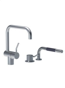 One-handle mixer with medium lever and ceramic disc technology, double swivel spout and water saving aerator, with one-handle mixer 500 with medium lever and hand shower T1 - Grey