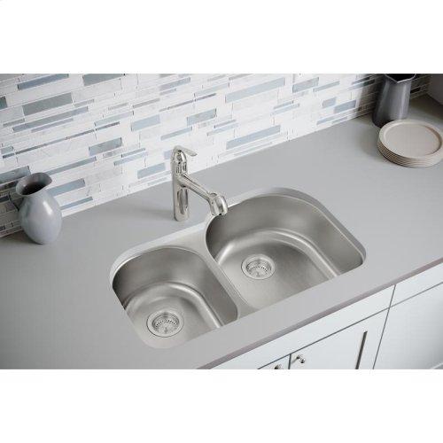 "Dayton Stainless Steel 31-1/4"" x 20"" x 8"", Offset 40/60 Double Bowl Undermount Sink"