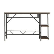 This functional, contemporary desk in a rustic brown textured finish with a...