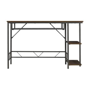 BelloThis functional, contemporary desk in a rustic brown textured finish with a...