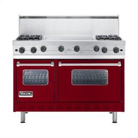 """Apple Red 48"""" Open Burner Commercial Depth Range - VGRC (48"""" wide, four burners 24"""" wide griddle/simmer plate)"""