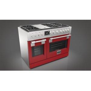 "Fulgor Milano48"" Dual Fuel Pro Range - Glossy Red"