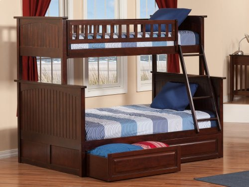 Nantucket Bunk Bed Twin over Full with Raised Panel Bed Drawers in Walnut