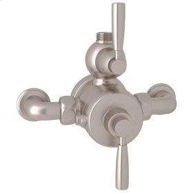 Satin Nickel Perrin & Rowe Holborn Exposed Thermostatic Mixer with Holborn Metal Lever