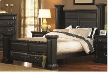 5/0 Queen Panel Bed - Antique Black Finish