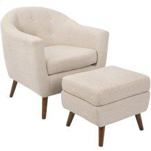 Rockwell Chair + Ottoman Set - Walnut Wood, Beige Fabric