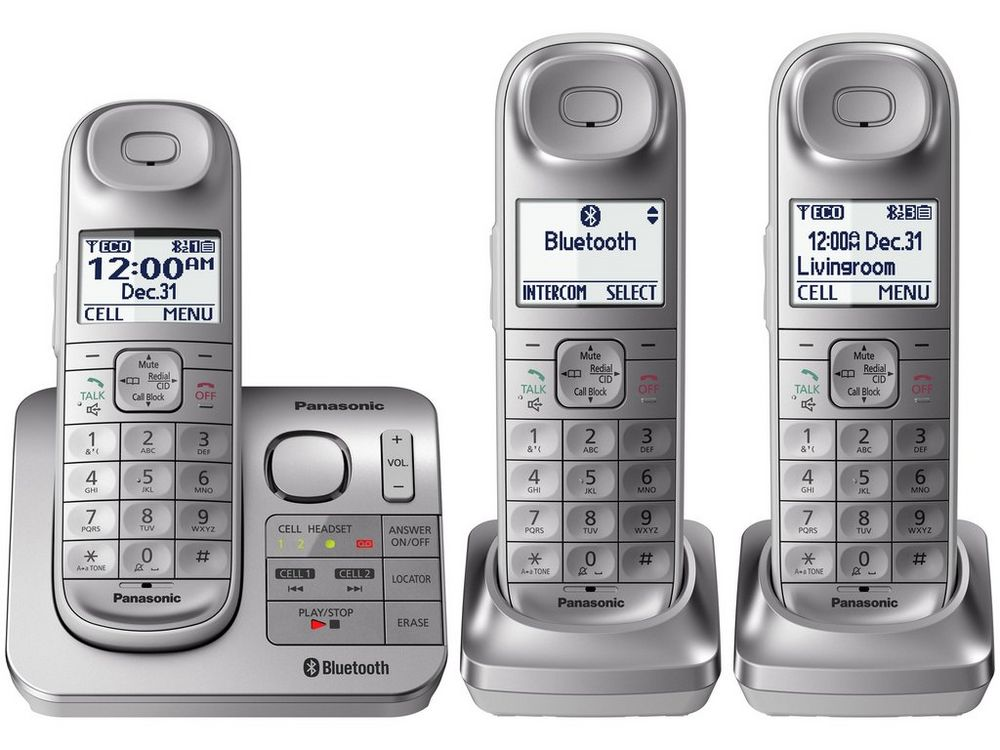 Link2Cell Bluetooth(R) Cordless Phone with Comfort Shoulder Grip and Answering Machine- 3 Handsets
