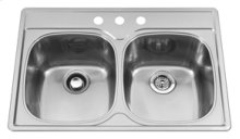 Double Bowl 3 Faucet Holes Double Bowl Top-Mount(Deck Silk/Bowl Silk)