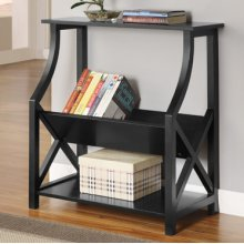 Black X-Sided Bookcase