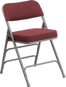 HERCULES Series Premium Curved Triple Braced & Double-Hinged Burgundy Fabric Metal Folding Chair