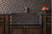 Wave Front Farmhouse Sink Honed Basalt