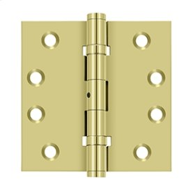 """4""""x 4"""" Square Hinges, Ball Bearings - Polished Brass"""
