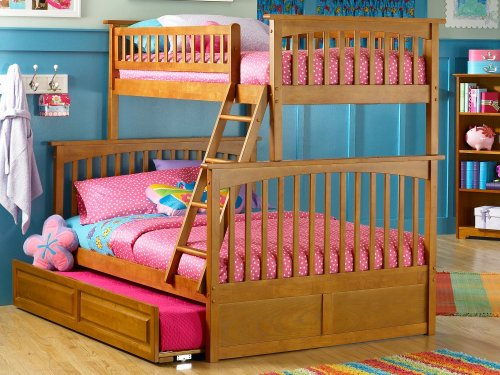 Columbia Bunk Bed Twin over Full with Raised Panel Trundle Bed in Caramel Latte