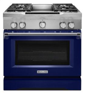 36'' 4-Burner with Griddle, Dual Fuel Freestanding Range, Commercial-Style - Cobalt Blue