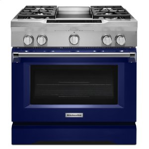 36'' 4-Burner with Griddle, Dual Fuel Freestanding Range, Commercial-Style - Cobalt Blue - COBALT BLUE