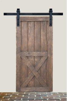 7' Barn Door Flat Track Hardware - Smooth Iron Basic Style