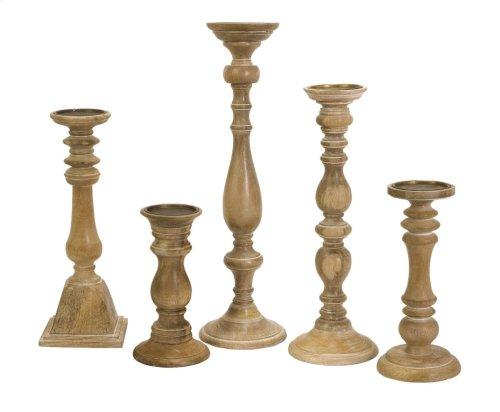 Mason Natural Wash Wood Candleholders - Set of 5