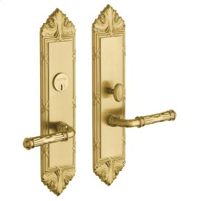 Satin Brass and Brown Fenwick Escutcheon Entrance Set
