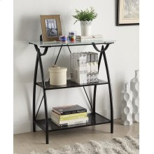 Newport 2-shelf Bookcase W/frosted Tempered Glass Top, Blk Powder Coated Steel Frame K/d