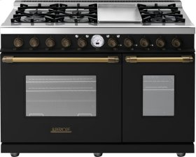 Range DECO 48'' Classic Black matte, Bronze 6 gas, griddle and 2 electric ovens