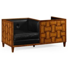 Cosmo Transitional Loveseat, Upholstered in Black Leather