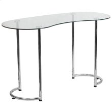 Contemporary Desk with Curvaceous Clear Tempered Glass