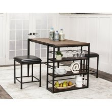 CR-W3077  3 Piece Counter Height Pub Table Set  2 Stools  Storage