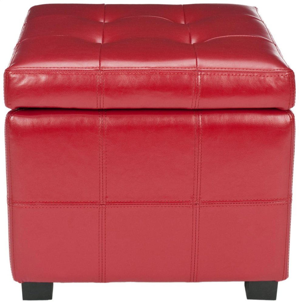Maiden Square Tufted Ottoman - Red / Black