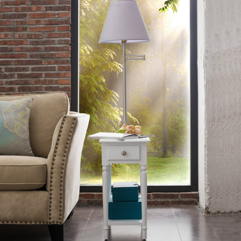 Additional Orchid White Chairside Lamp Table With Ac Usb Charger 20037 Wt