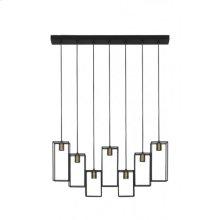 Hanging lamp 7L 84x15x130 cm MARLEY matt black-antiq bronze