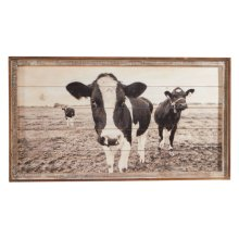 Framed Slat Cow Wall Decor.