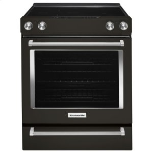 Kitchenaid Black30-Inch 5-Element Electric Slide-In Convection Range - Black Stainless Steel with PrintShield™ Finish
