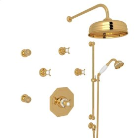 English Gold Perrin & Rowe Edwardian Thermostatic Shower Package with Cross Handle