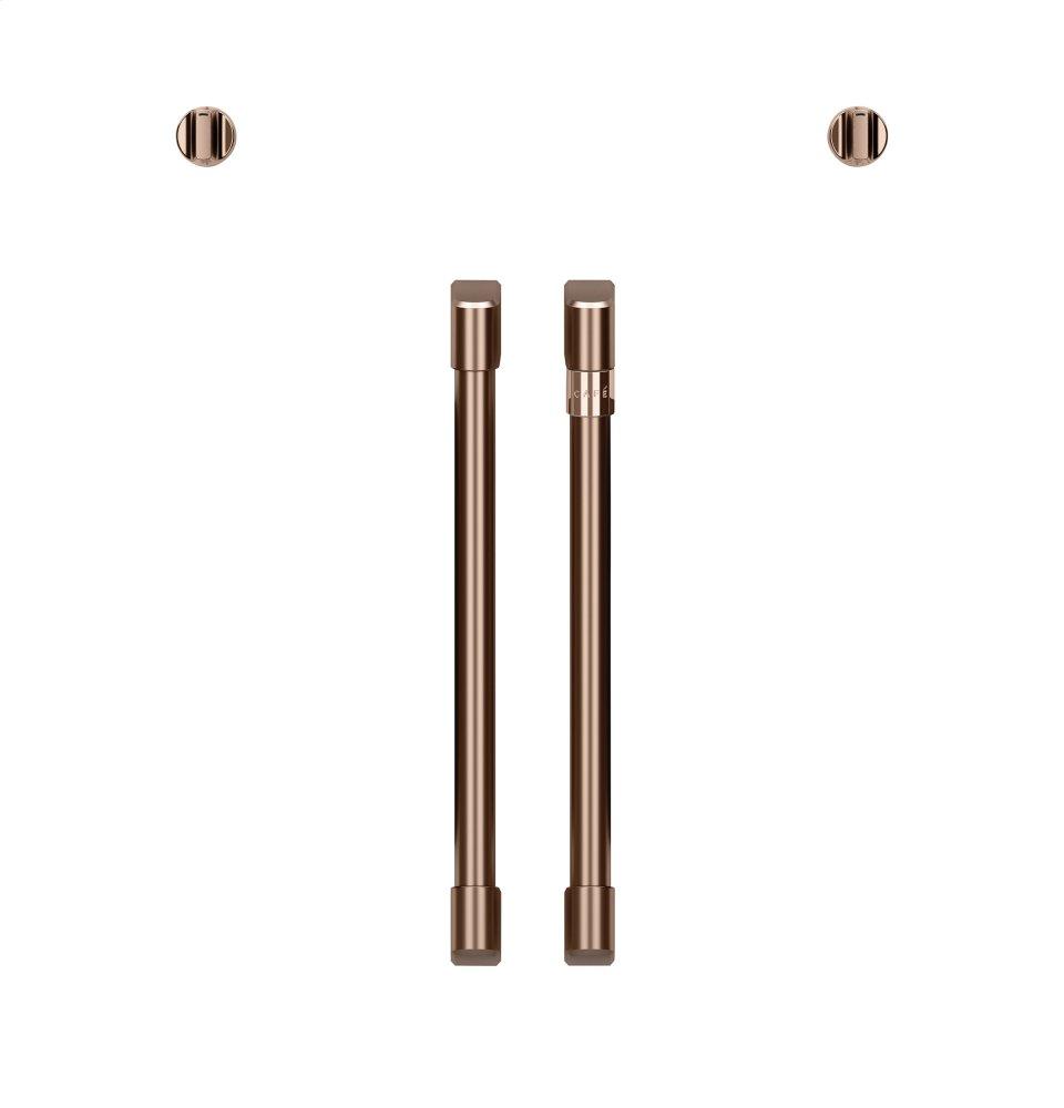Caf(eback) 2 French-Door Handles; 2 Knobs - Brushed Copper  BRUSHED COPPER