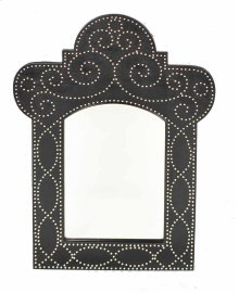 Madrid Black Vinyl Nailhead Mirror