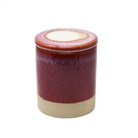 Outdoor Citronella Candle In Ceramic Lidded Jar, Fuchsia