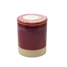 Outdoor Citronella Candle In Ceramic Lidded Jar, Fuchsia