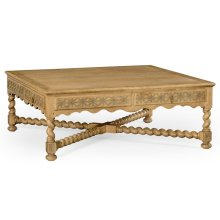 "Natural Oak Tudor Style Square Distressed Coffee Table (52"")"