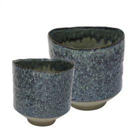 """S/2 Ceramic Planters 8""""/6.5"""" , Blue"""