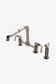 R.W. Atlas Two Hole Bridge High Profile Kitchen Faucet, Metal Side Mount Levers and Spray STYLE: RWKM10