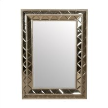 RECTANGULAR MIRROR OF BEVELED DIAMOND CUT MIRROR GLASS, SILV ER METAL LEAF WOOD TRIM