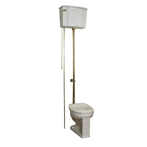 Victoria High Tank Toilet - White/polished Brass Trim