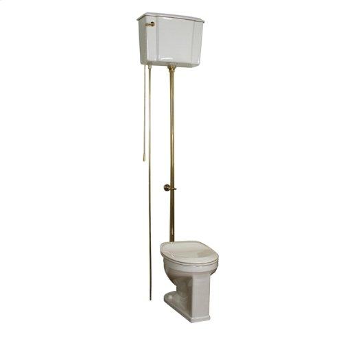 Victoria High Tank Toilet - White/polished Brass Trim