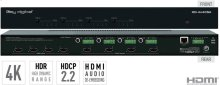4x4 4K HDMI Matrix Switcher, Audio De-embedding of Analog L/R Balanced/ Unbalanced & Digital Coaxial Audio, HDR, HDCP2.2
