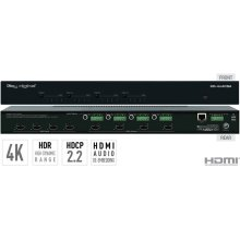 4x4 4K HDMI Matrix Switcher, Audio De-embedding of Analog L/R Balanced/ Unbalanced & Digital Coaxial Audio, HDR, HDCP2.2
