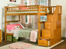 Columbia Staircase Bunk Bed Twin over Twin in Caramel Latte