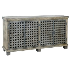 CRESTVIEW COLLECTIONSBengal Manor Metal Lattice Work and Mango Wood Sideboard
