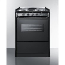 Slide-in Electric Range In Slim 24 Inch Width With Black Porcelain Construction and Oven Window