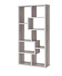 - Eight shelf bookcase finished in grey driftwood- Constructed with MDF, particle board, and engineered veneer- Also available in weathered grey (#800510), cappuccino (#800264), white (#800136), walnut (#801138), and elm (#801302) Product Image